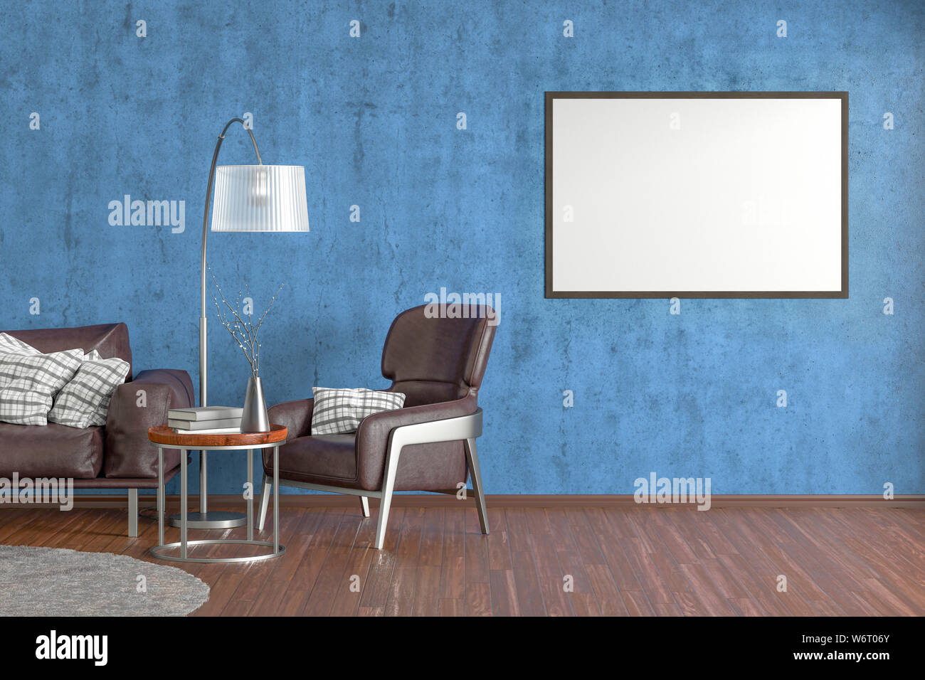 Picture of: Blank Horizontal Poster On Blue Concrete Wall In Interior Of Living Room With Brown Leather Sofa And Armchair Carpet Floor Lamp And Coffee Table On Stock Photo Alamy