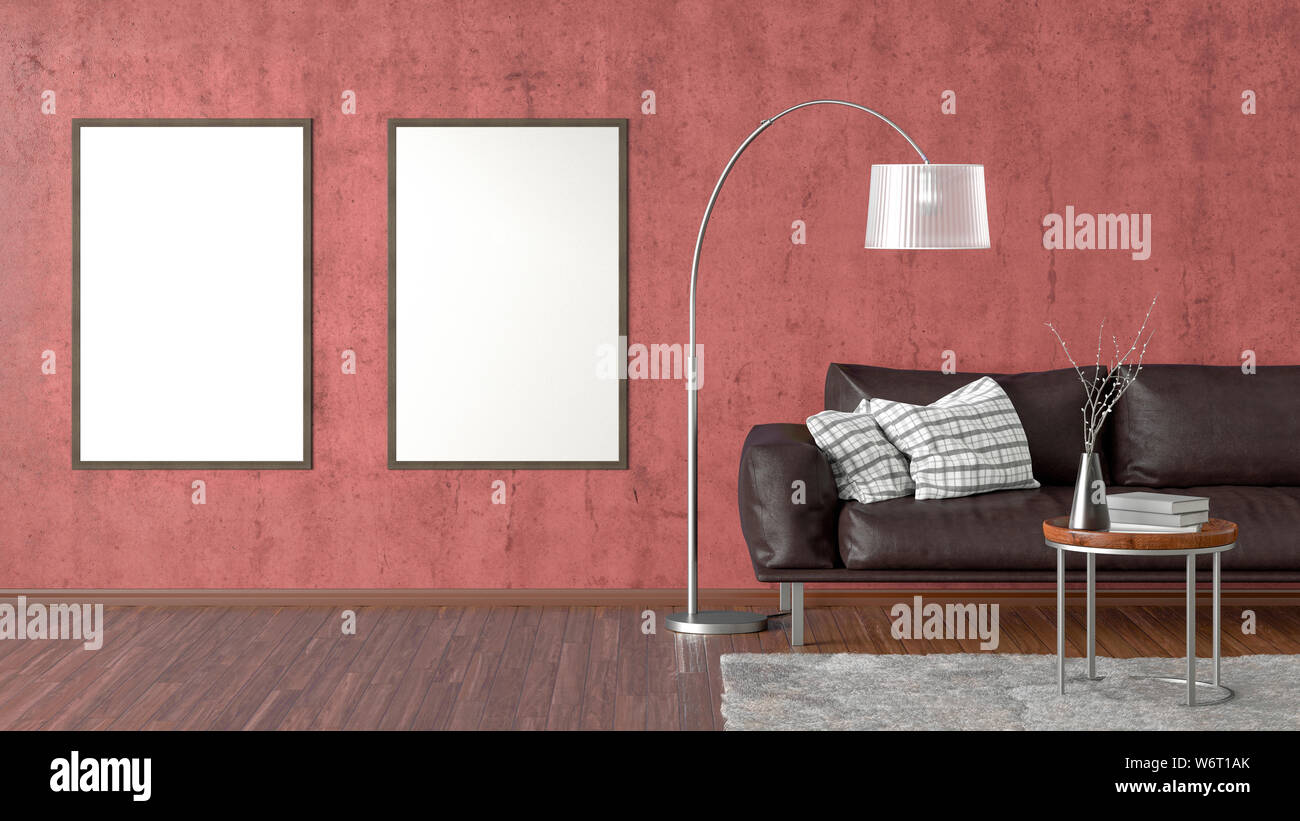 Two Blank Vertical Posters On Red Concrete Wall In Interior Of
