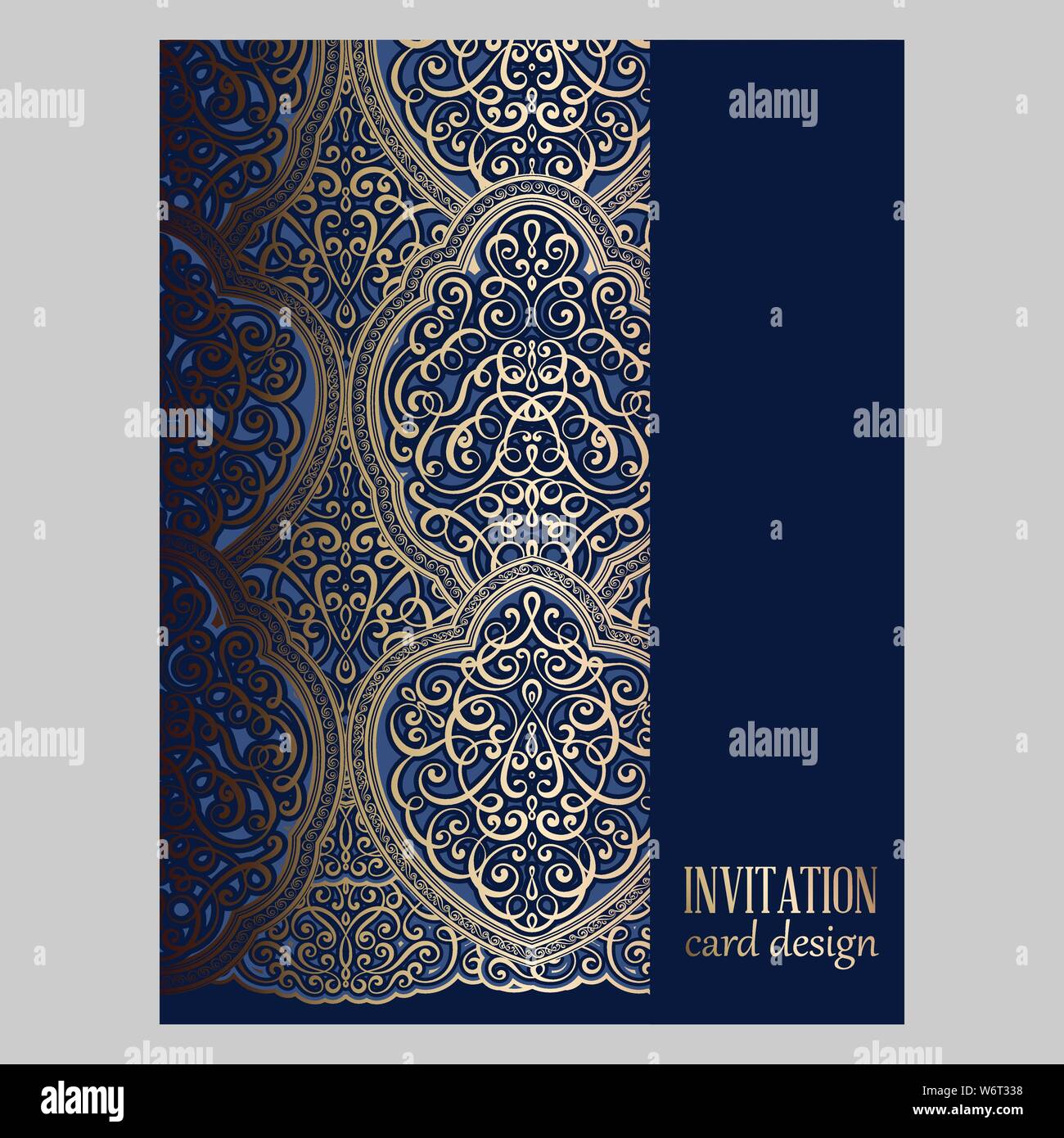 Wedding Invitation Card With Gold And Blue Shiny Eastern And