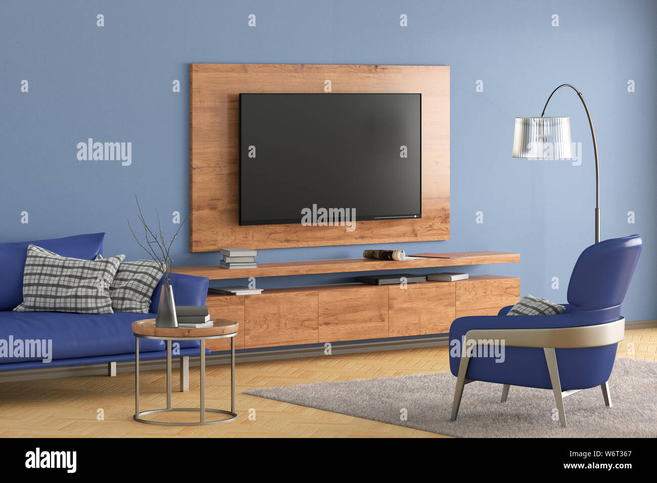 Tv On The Blue Wall Of Modern Living Room With Blue Leather Cabinet And Armchair Couch Coffee Table Floor Lamp And Fur Carpet 3d Illustration Stock Photo Alamy