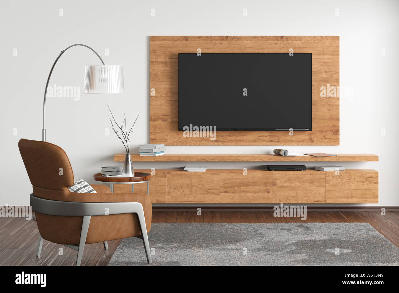 TV on the white wall of modern living room with cabinet, brown ...