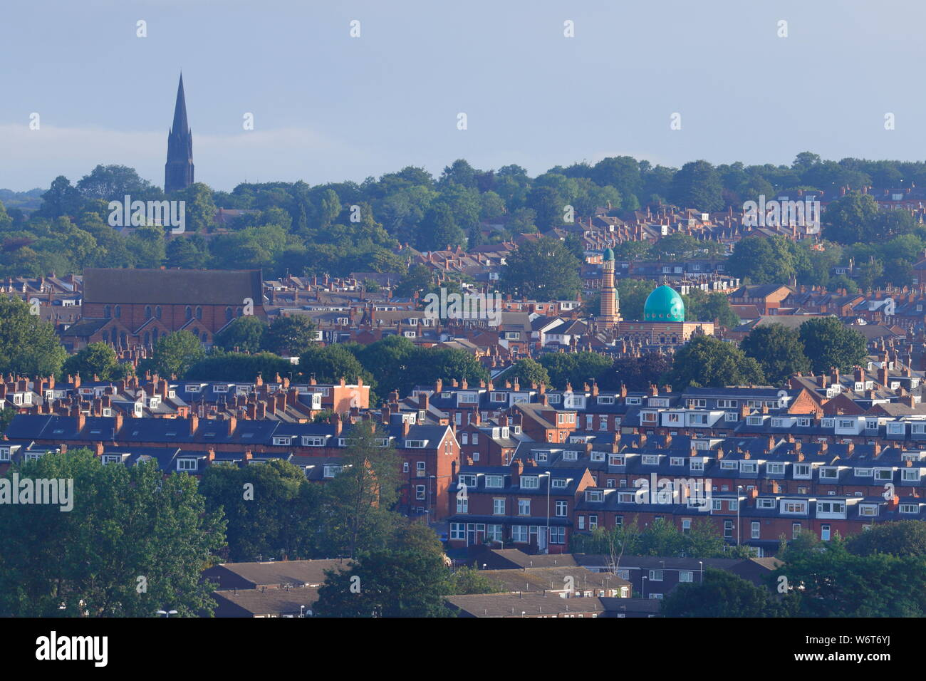 Burley skyline in Leeds from a 125ft boom. Stock Photo