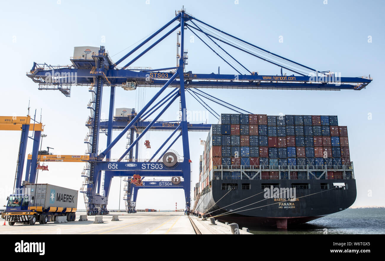 (190802) -- WALVIS BAY (NAMIBIA), Aug. 2, 2019 (Xinhua) -- Containers are seen on a vessel at the new container terminal in Walvis Bay, Namibia, Aug. 2, 2019. Namibia's quest to become an international trade hub and gateway advanced further Friday with the official inauguration of the country's 400-million-U.S.-dollar new container terminal in Walvis Bay by the county's President Hage Geingob. The new container terminal located in the port town of Walvis Bay was constructed on 40 hectares of land reclaimed from the sea by China Harbor Engineering Company Ltd (CHEC) under just five years. (Xinh Stock Photo