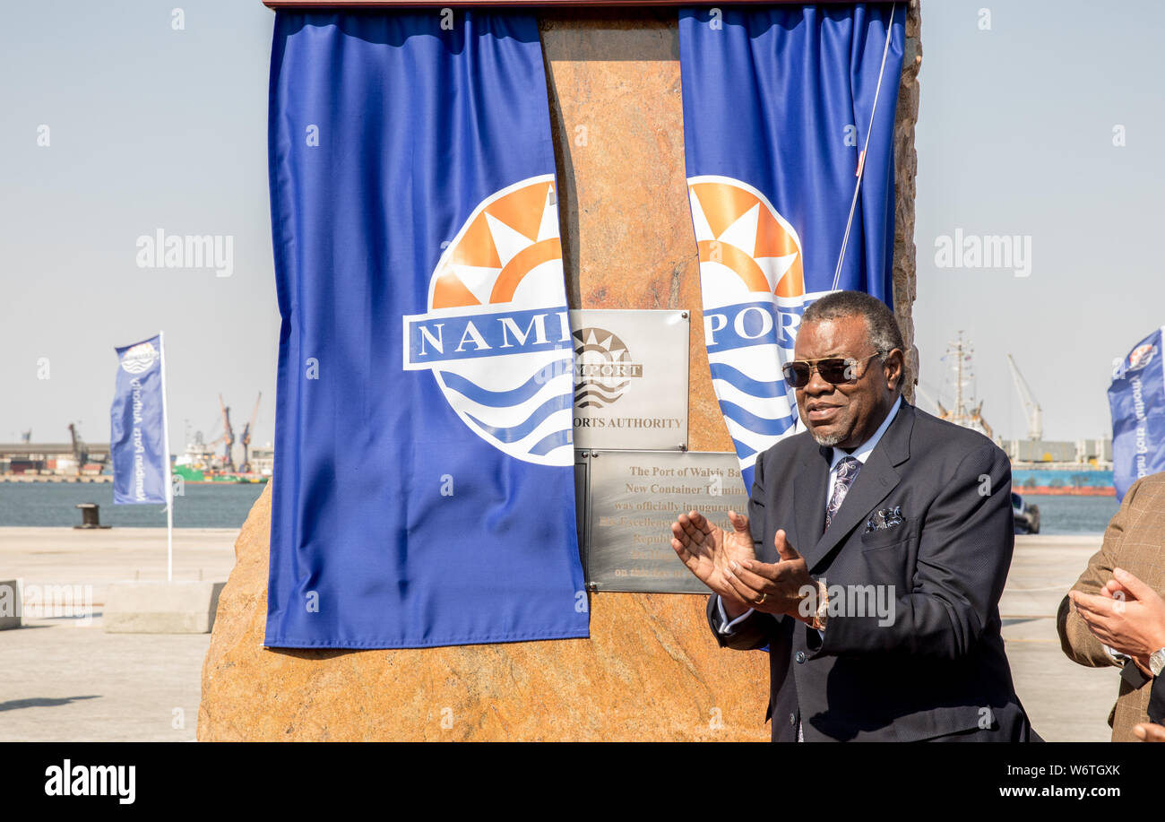 (190802) -- WALVIS BAY (NAMIBIA), Aug. 2, 2019 (Xinhua) -- Namibia's President Hage Geingob attends the inauguration ceremony of the new container terminal in Walvis Bay, Namibia, Aug. 2, 2019. Namibia's quest to become an international trade hub and gateway advanced further Friday with the official inauguration of the country's 400-million-U.S.-dollar new container terminal in Walvis Bay by the county's President Hage Geingob. The new container terminal located in the port town of Walvis Bay was constructed on 40 hectares of land reclaimed from the sea by China Harbor Engineering Company Ltd Stock Photo