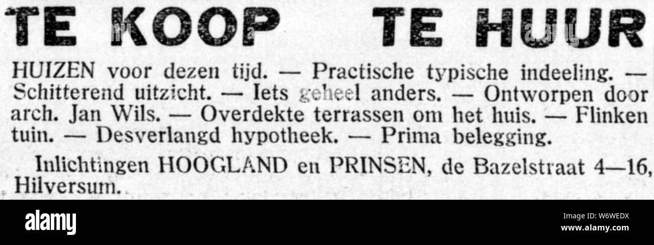 De Gooi- en Eemlander vol 59 no 081 advertisement 001. Stock Photo