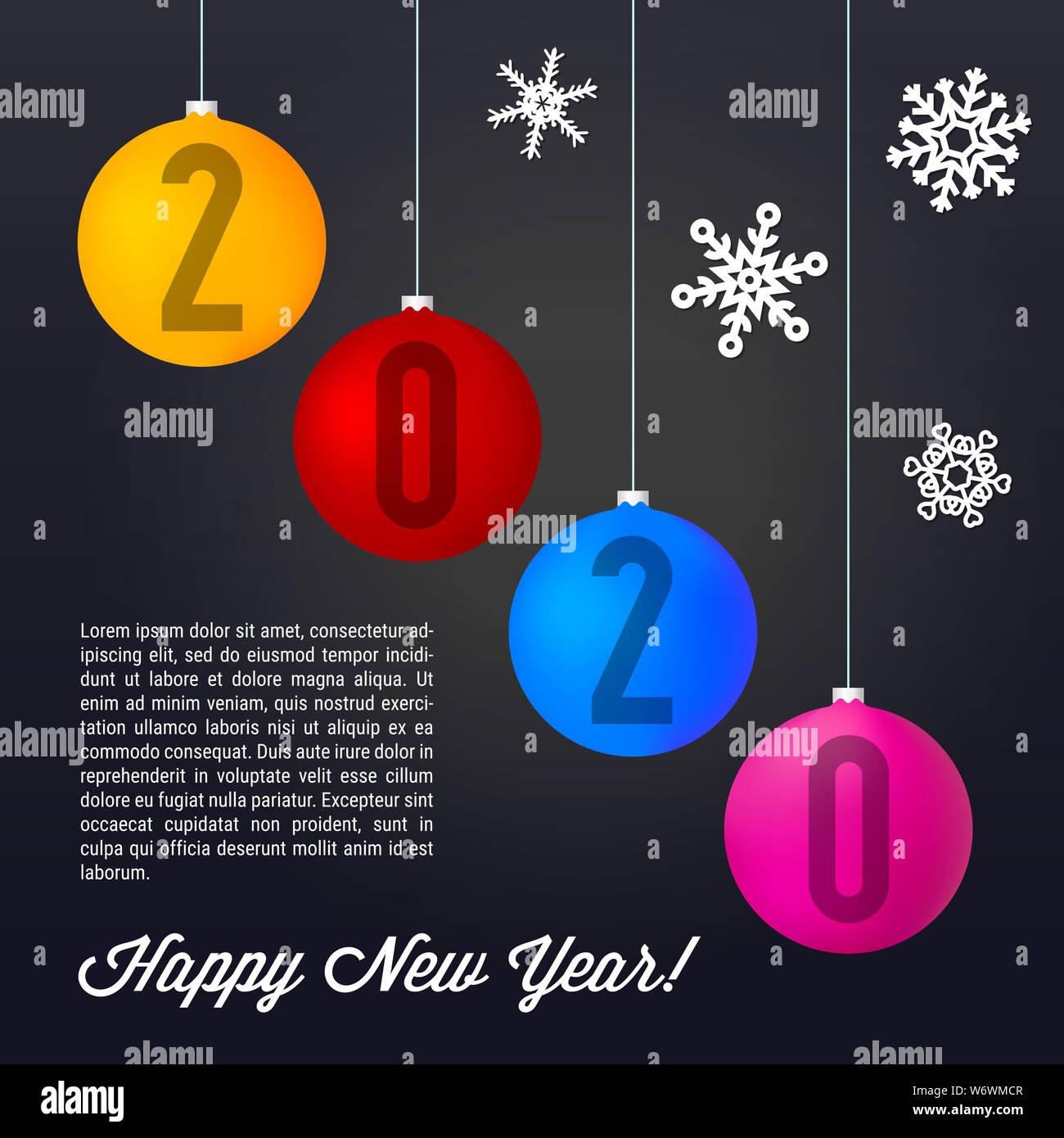 Merry Christmas Images And Happy 2020 Cards Colored Matt Christmas Balls on Black Background. Merry Christmas