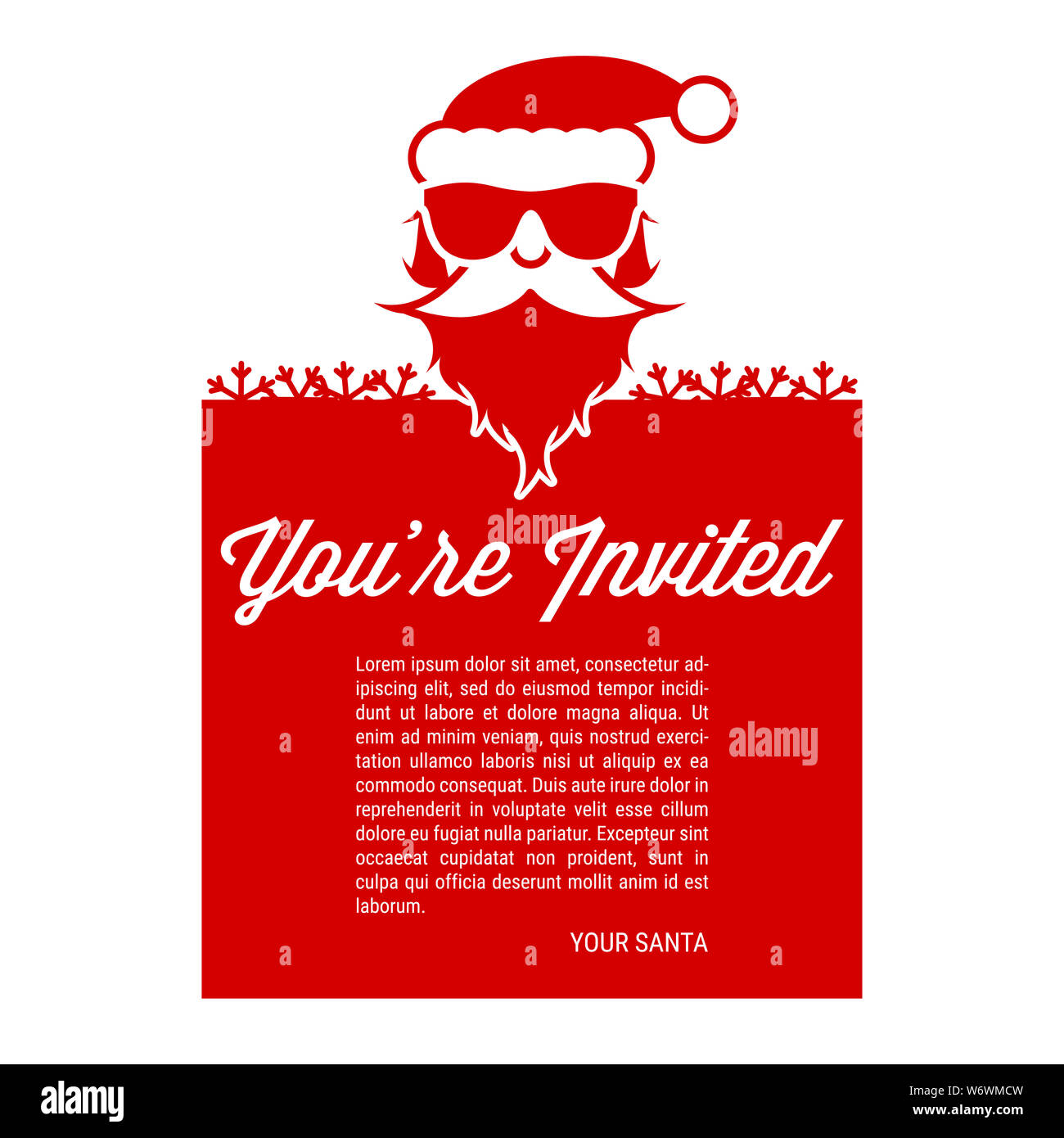 Santa Claus In Sunglasses New Year Or Christmas Party Invitation