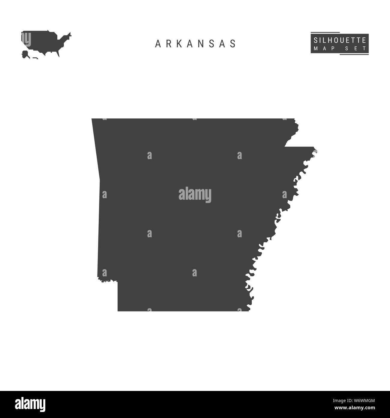 Image of: Arkansas Us State Blank Map Isolated On White Background High Detailed Black Silhouette Map Of Arkansas Stock Photo Alamy