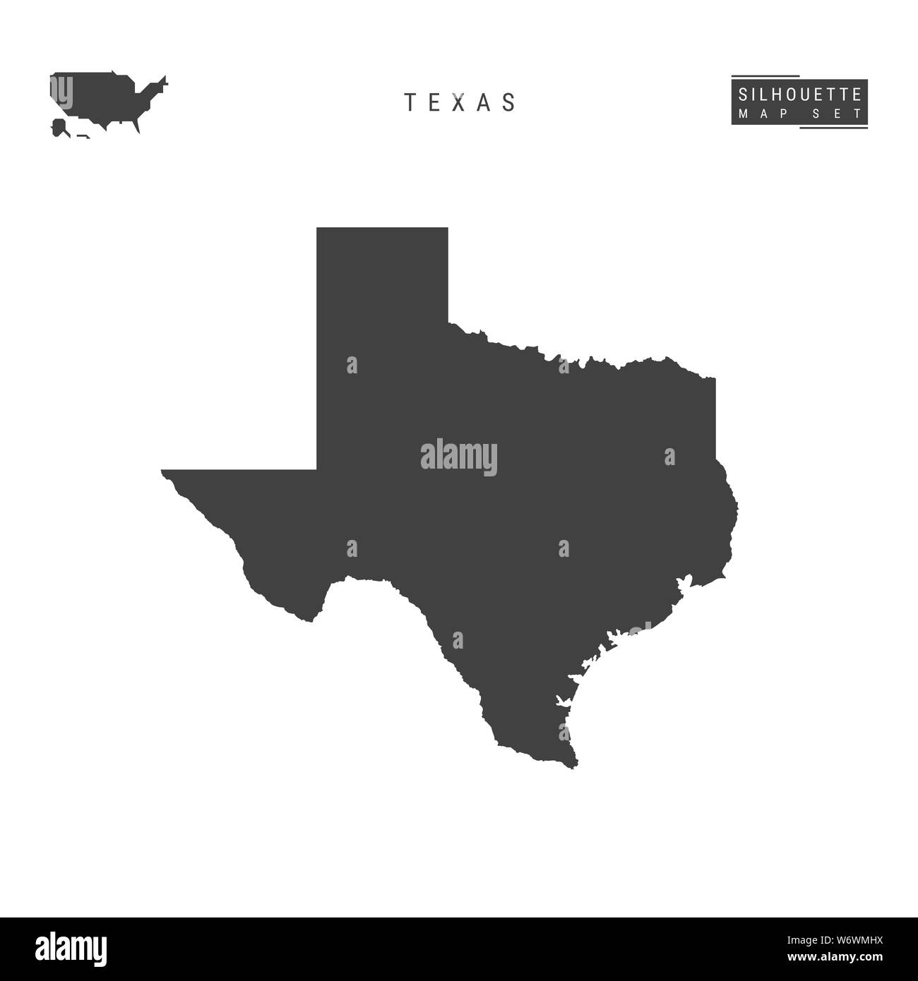 Texas Us State Blank Map Isolated On White Background High Detailed Black Silhouette Map Of Texas Stock Photo Alamy
