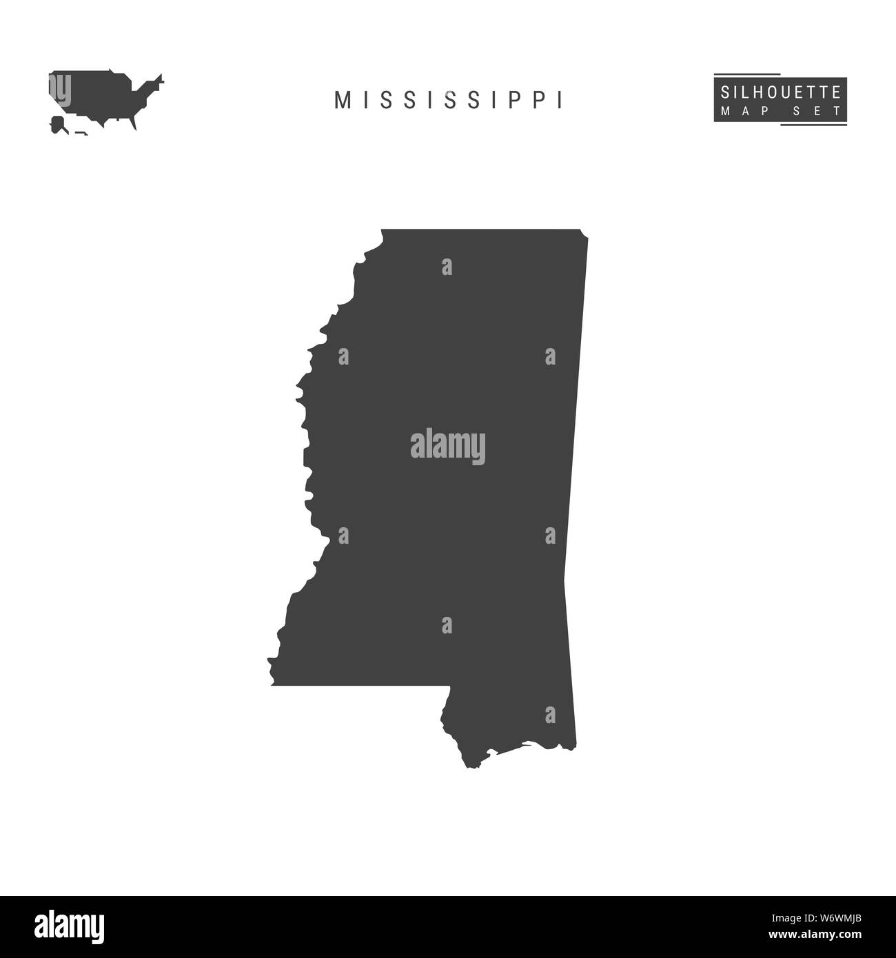 Mississippi US State Blank Map Isolated on White Background ...