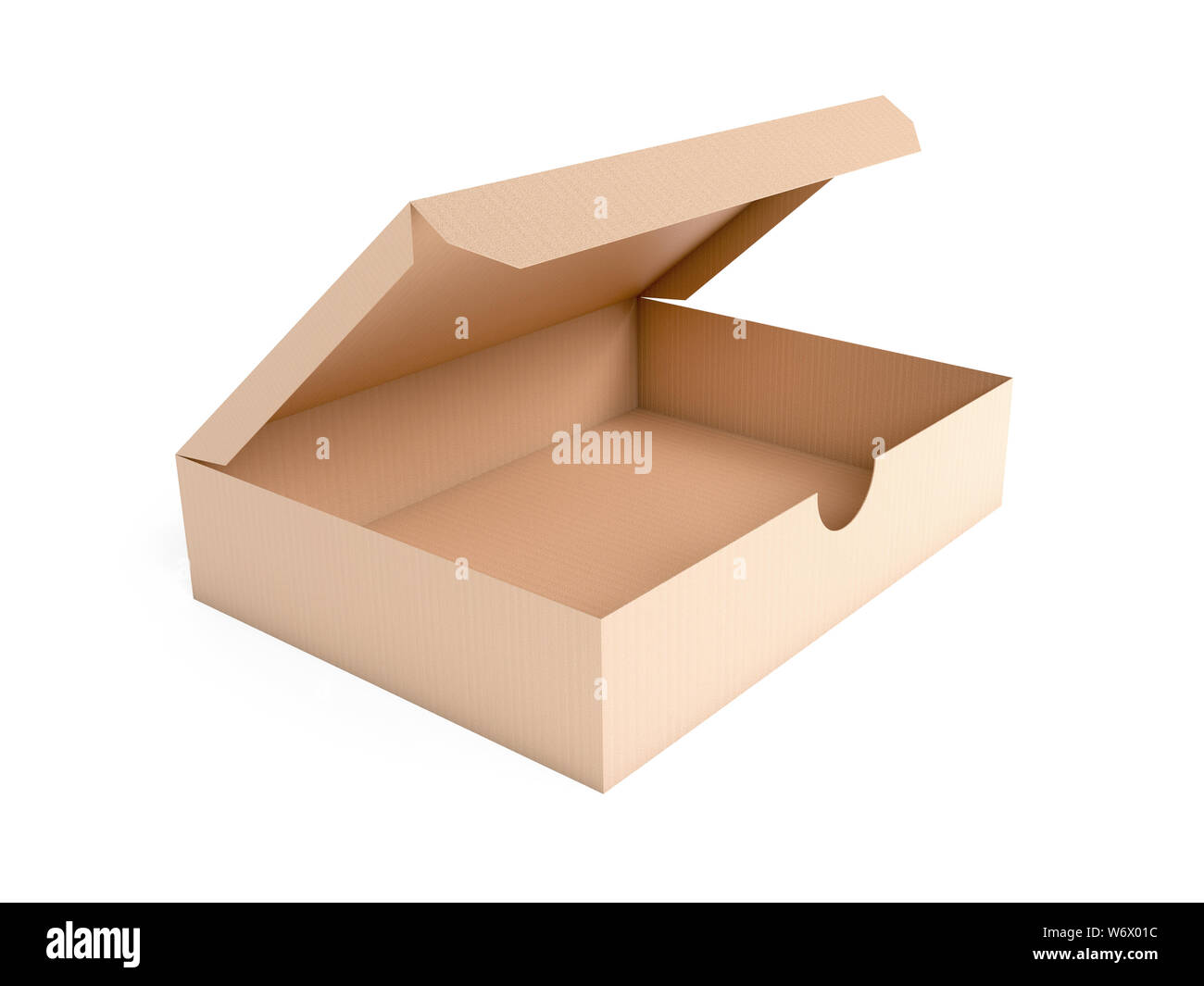 Flat brown paper box. Open carton. 3d rendering illustration isolated on white background Stock Photo