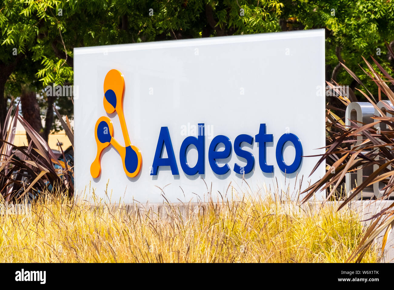 July 30, 2019 Santa Clara / CA / USA - Adesto Technologies sign in front of their HQ in Silicon Valley; The company provides application-specific semi Stock Photo