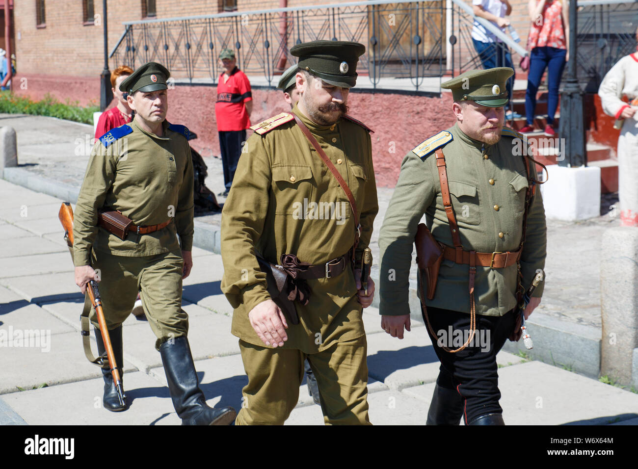 Novokuznetsk, Russia 07.07.2019 G., the Staff of the historical club in the form of the Russian soldier, the events of the First world war. editorial Stock Photo