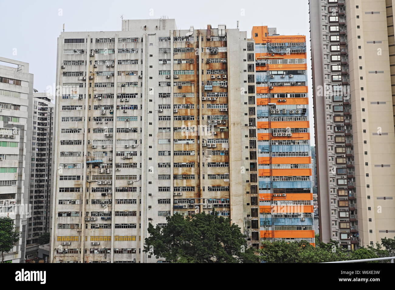 Crowded High Rise Residential Accommodation, Aberdeen, Hong Kong Stock Photo