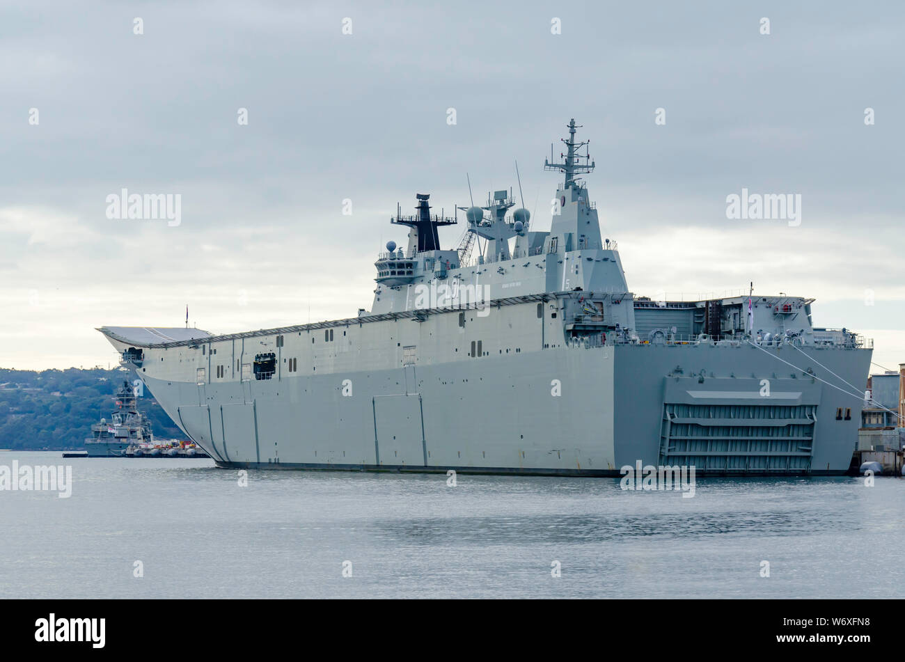 Royal Australian Navy landing helicopter dock ship HMAS Adelaide (L01) is a Canberra-class helicopter carrier amphibious assault Ship Stock Photo