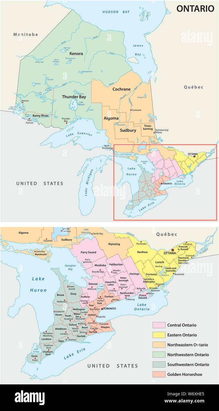 Map Of The Regions Of Canada.Administrative Map Of The Regions In Canada S Province Of Ontario