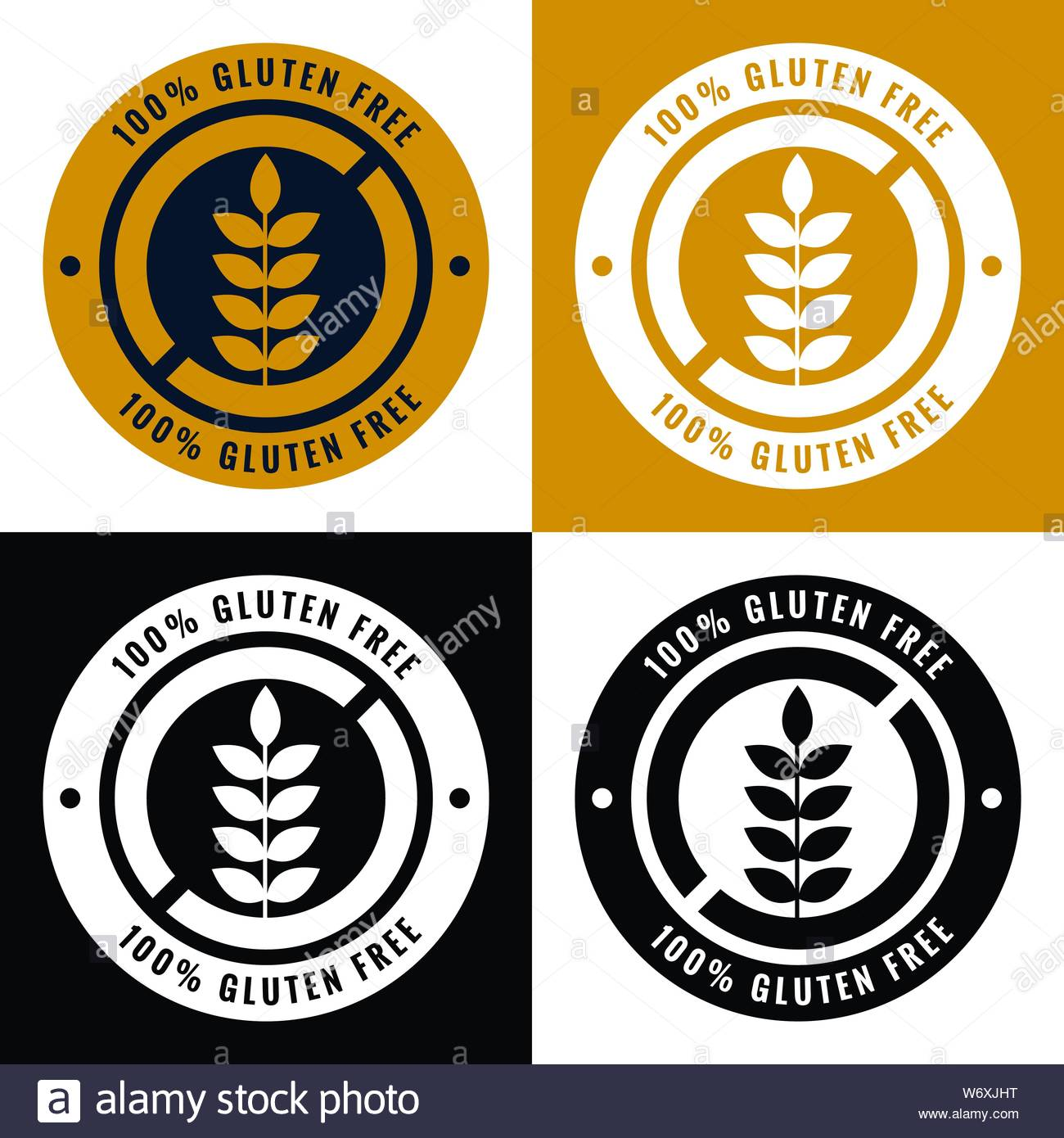 gluten free labels and symbol icons set Stock Vector Art