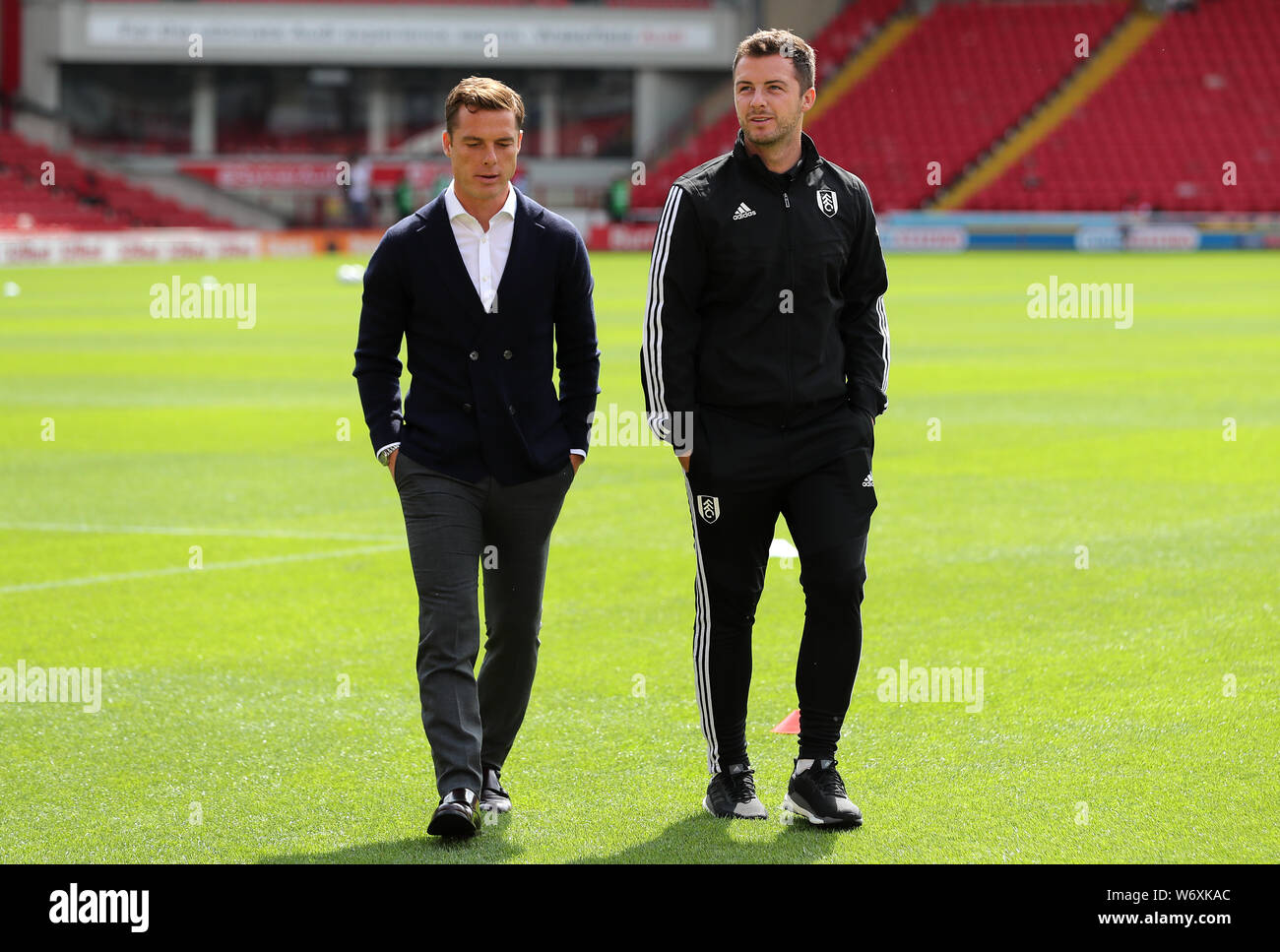 Fulham Manager Scott Parker Left And Coach Matt Wells Right Prior To The Sky Bet Championship Match At Oakwell Barnsley Stock Photo Alamy