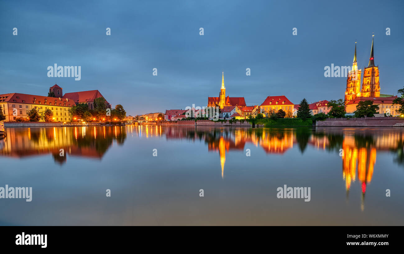 Panorama of the Cathedral Island with Cathedral of St. John in Wroclaw, Poland, at night Stock Photo