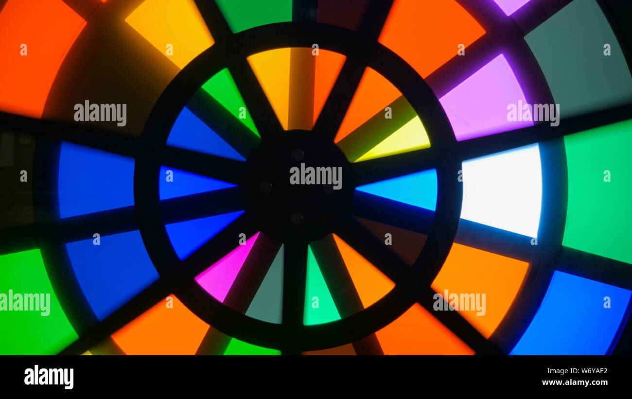 Spinning circles with multicolors glasses Stock Photo