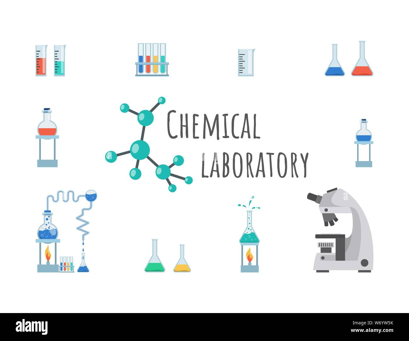 Chemical laboratory equipment vector banner template. Lab glassware, beakers, flasks and test tubes. Modern high precision microscope, measuring cup on innovative research center poster design Stock Vector