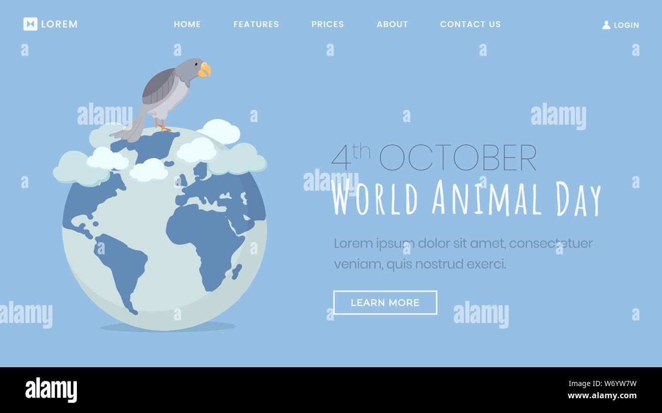 Animals Protection Day Vector Landing Page Cartoon Pet Bird