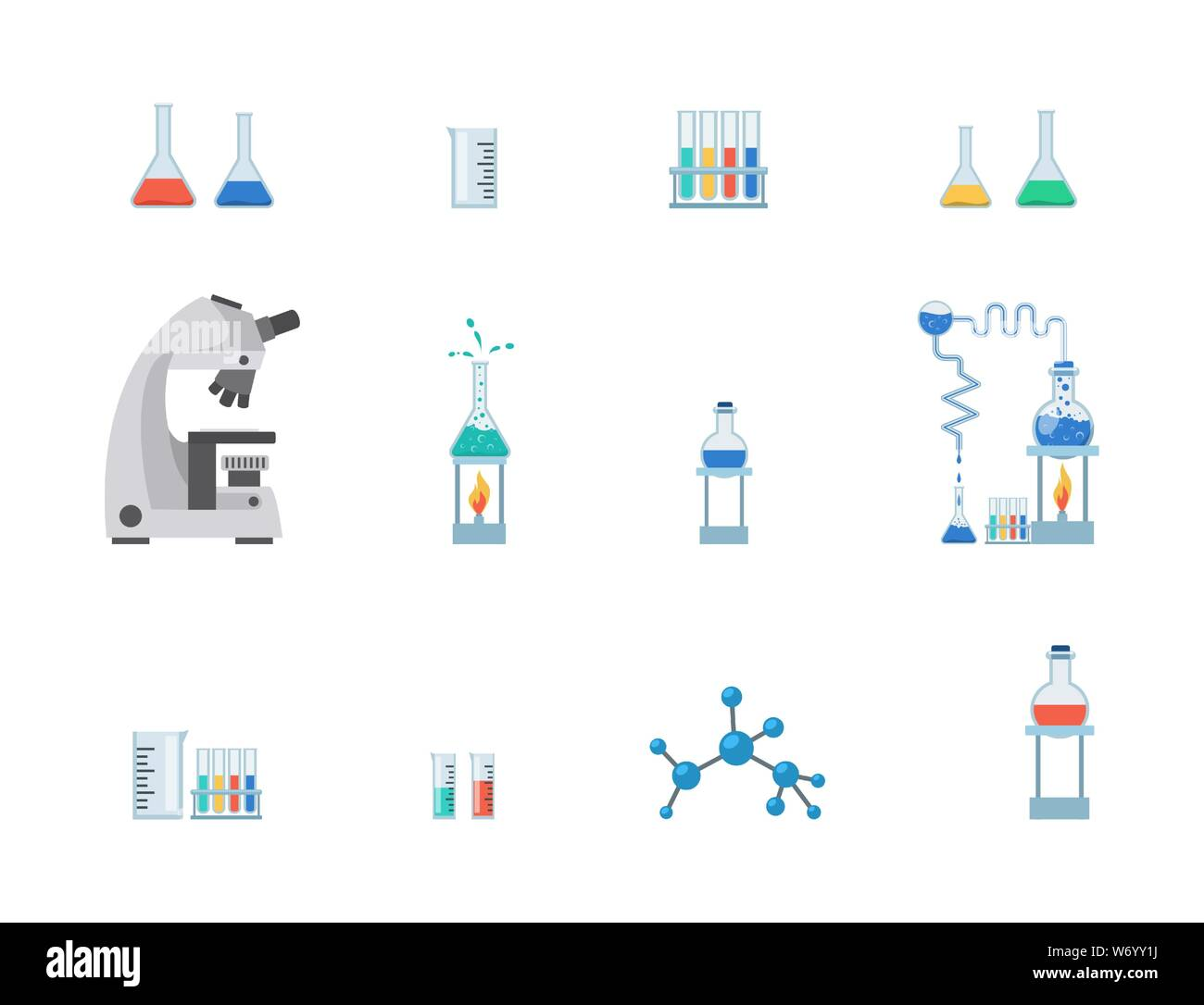 Lab equipment vector illustration set. Test tubes, chemistry beakers with liquids, measuring cup isolated on white background. Laboratory microscope, flasks heating system, molecule, virus structure Stock Vector