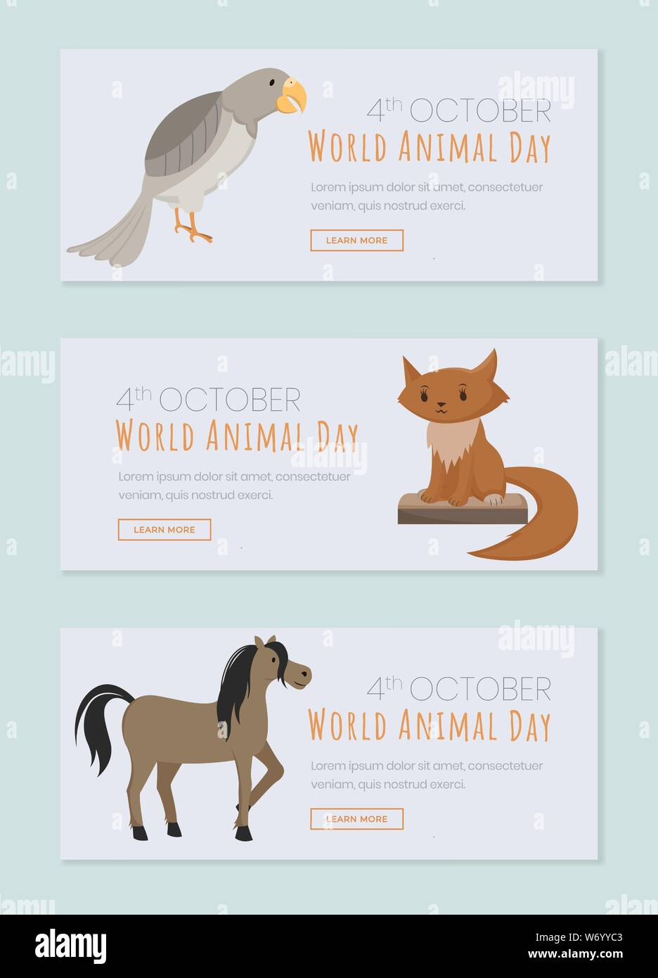 World animals day landing page templates  Saving domestic