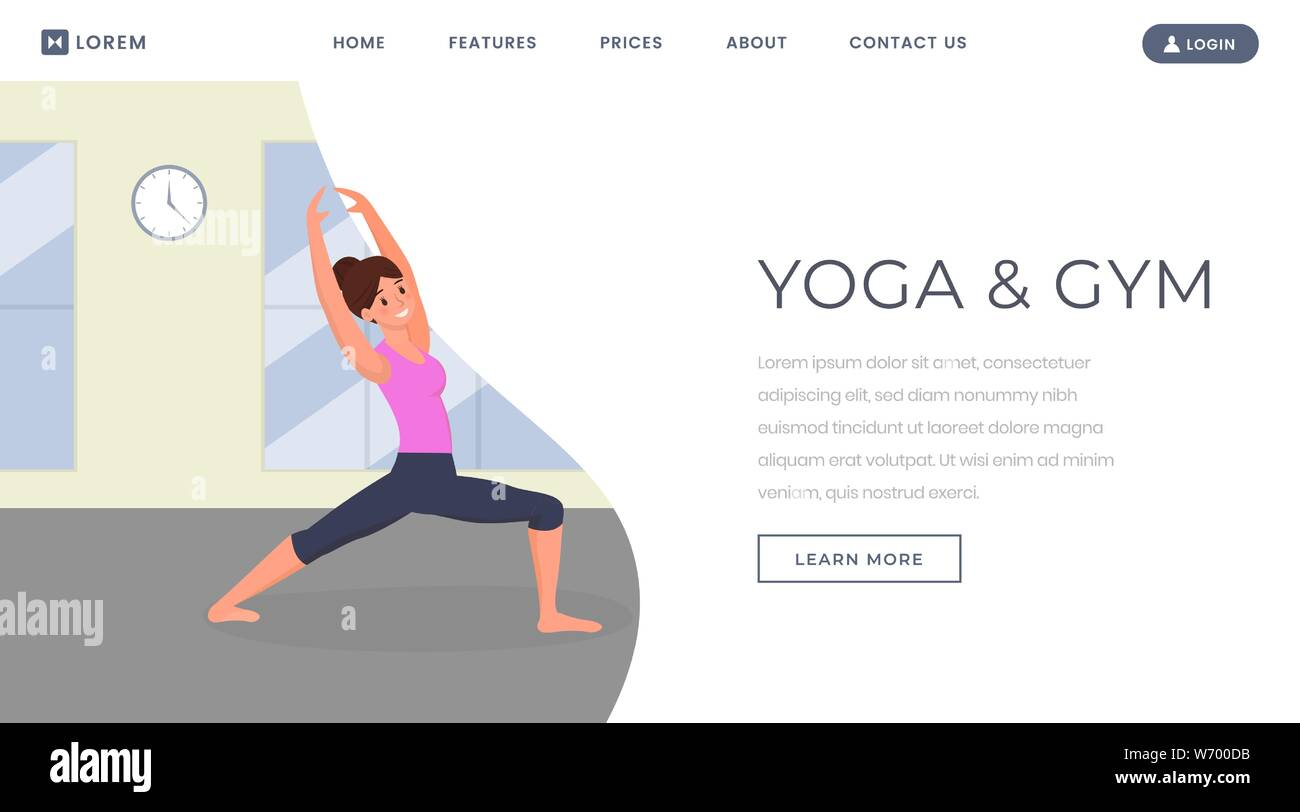 Yoga Flat Landing Page Vector Template Fitness Trainer Keeping Fit Training Body Website Webpage Young Girl In Gym Doing Yoga And Stretching Exercises Woman Relaxing Cartoon Character Stock Vector Image Art