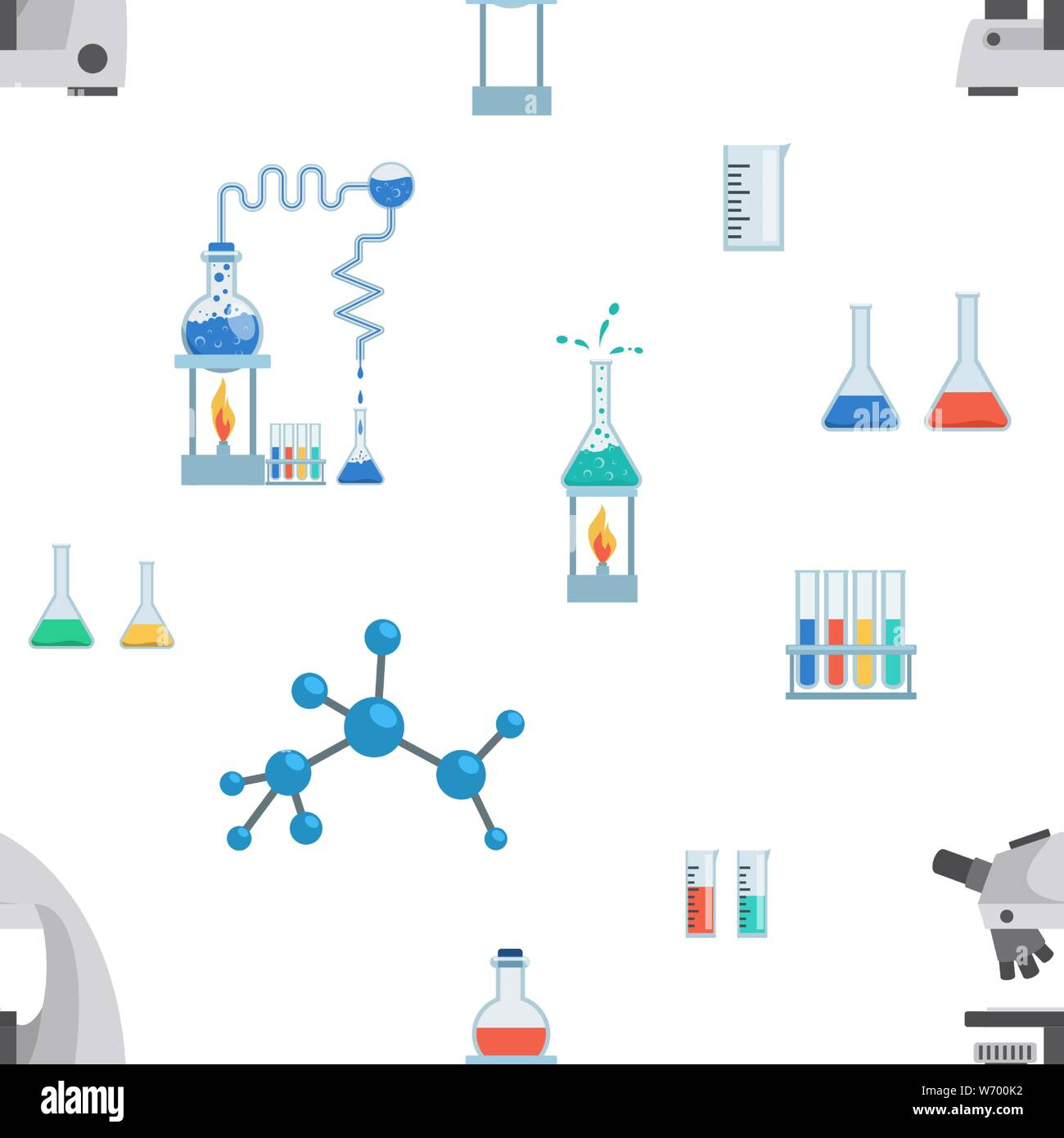 Lab equipment vector seamless pattern. Test tubes, chemistry beakers, measuring cups. Laboratory microscope, flasks heating system, molecule, virus structure wallpaper, wrapping paper design Stock Vector