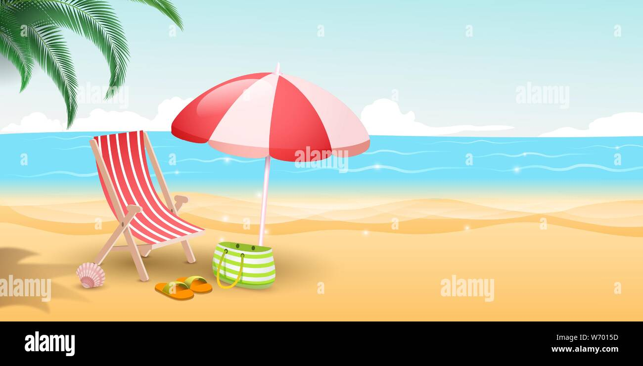 Tropical island resort flat vector illustration. Travelers paradise with sandy beach, blue sea and palm trees. Striped deckchair, umbrella and bag on sunny day, seaside vacation, summertime relax Stock Vector