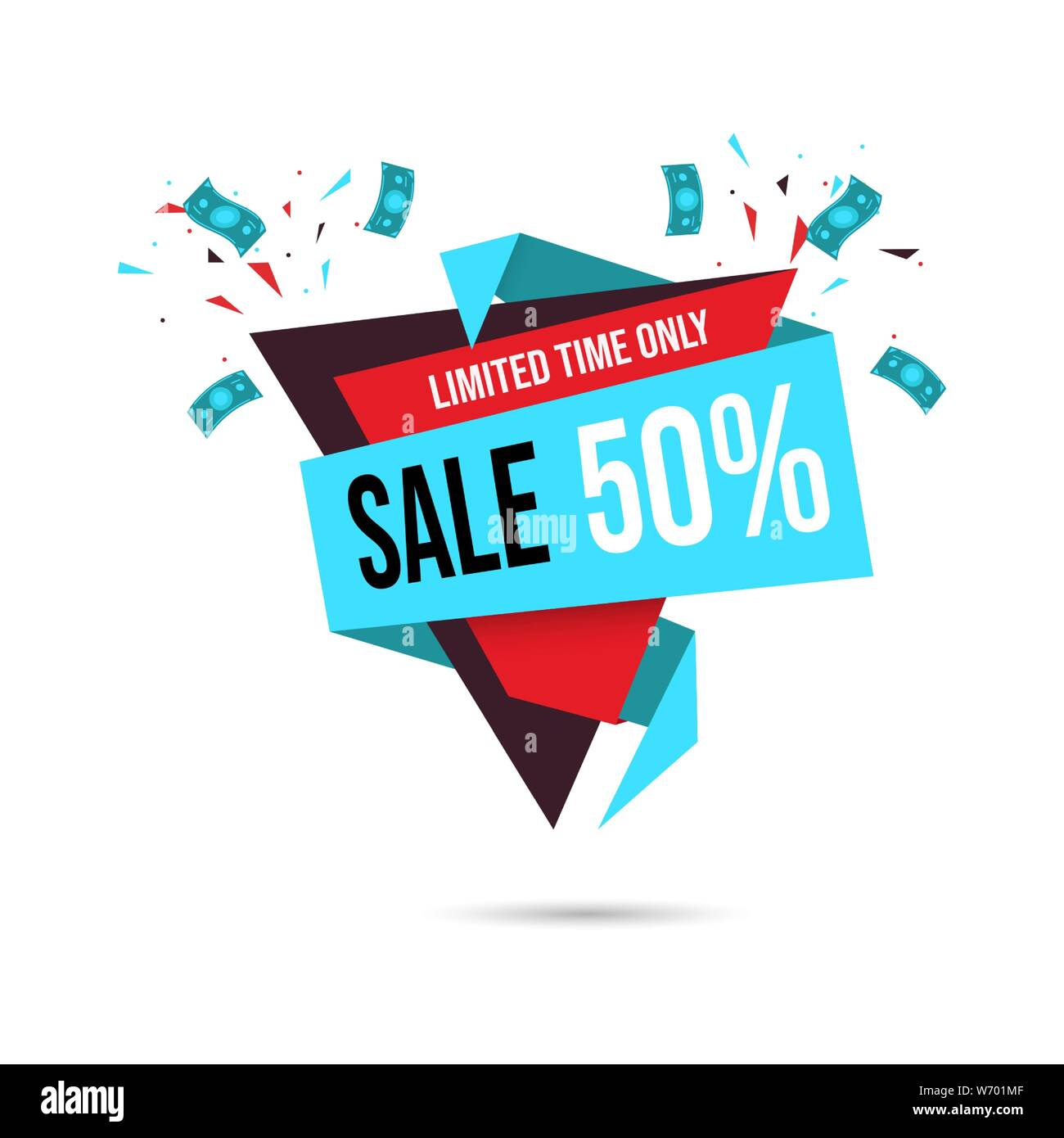 50 Percent Off Sale Banner Template Shopping Half Price