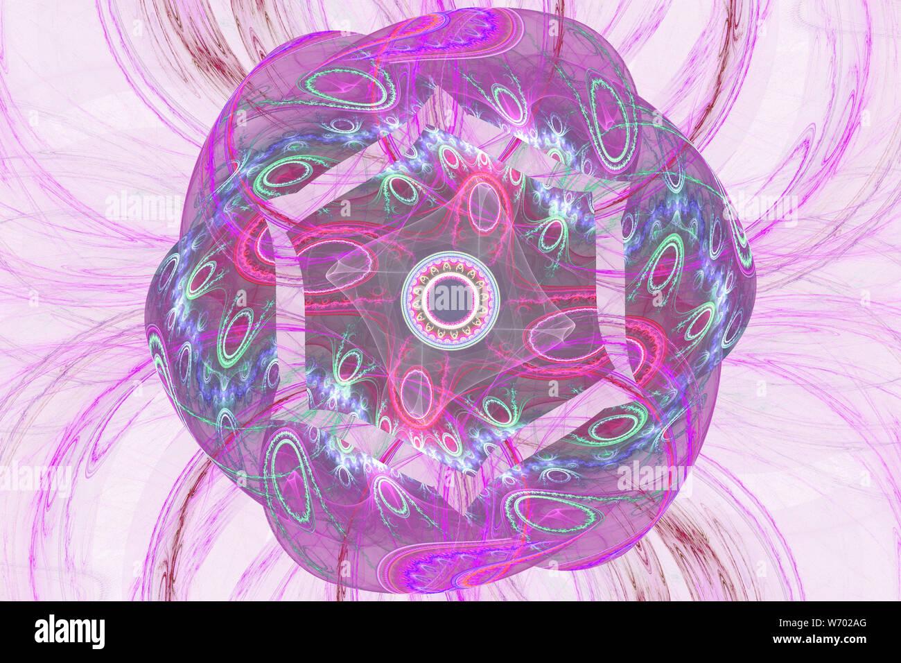 Pink Purple Fractal Fraktal Geometric Pattern Wallpaper Art Artsy