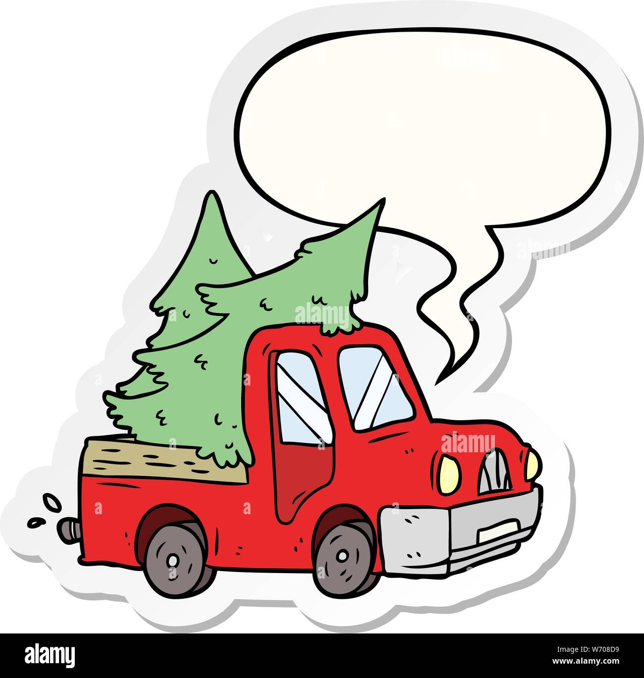 Cartoon Pickup Truck Carrying Christmas Trees With Speech