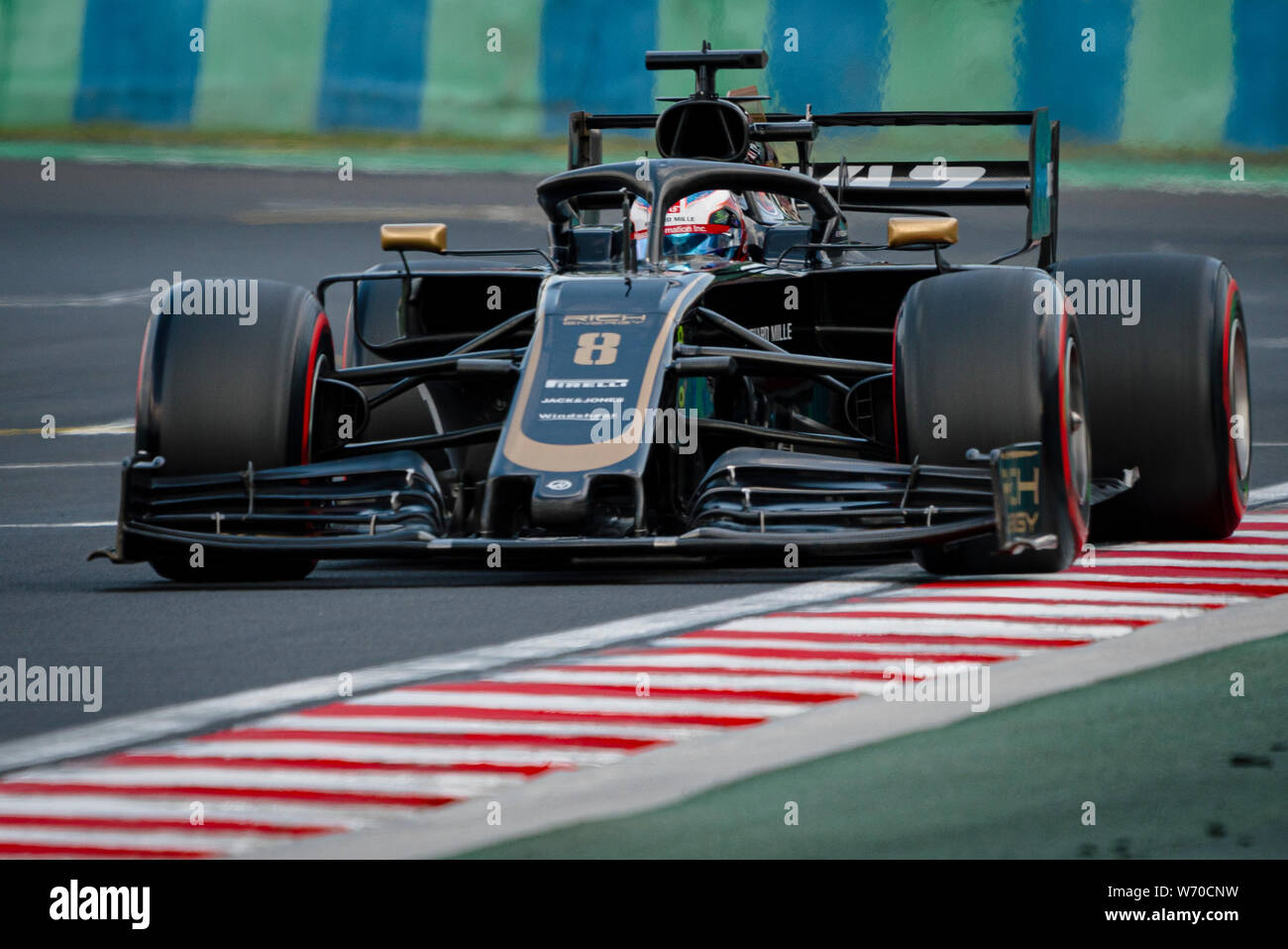 Haas F1 Team's French driver Romain Grosjean competes during the