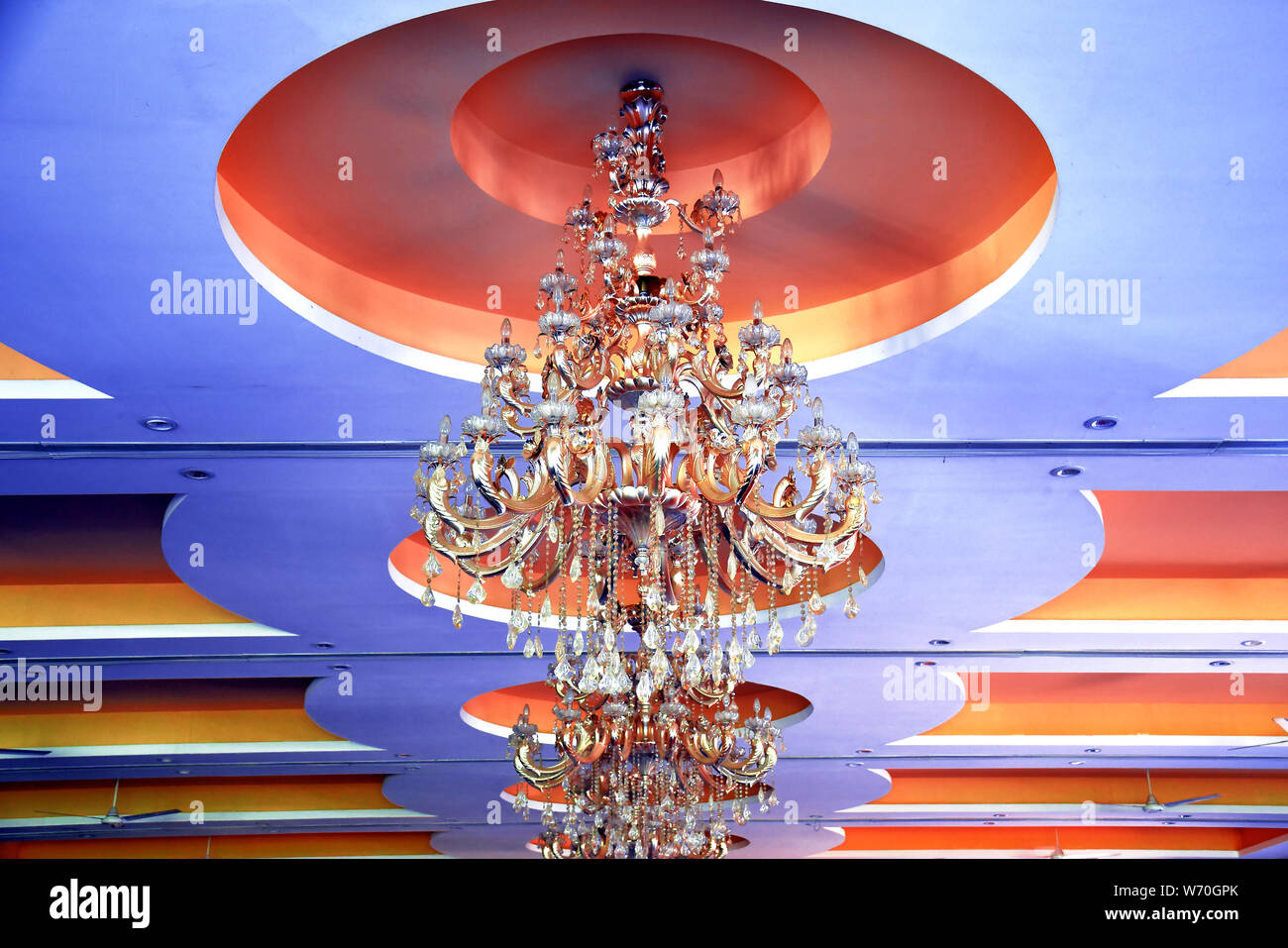 rooftop beautiful chandelier with blue background Stock Photo