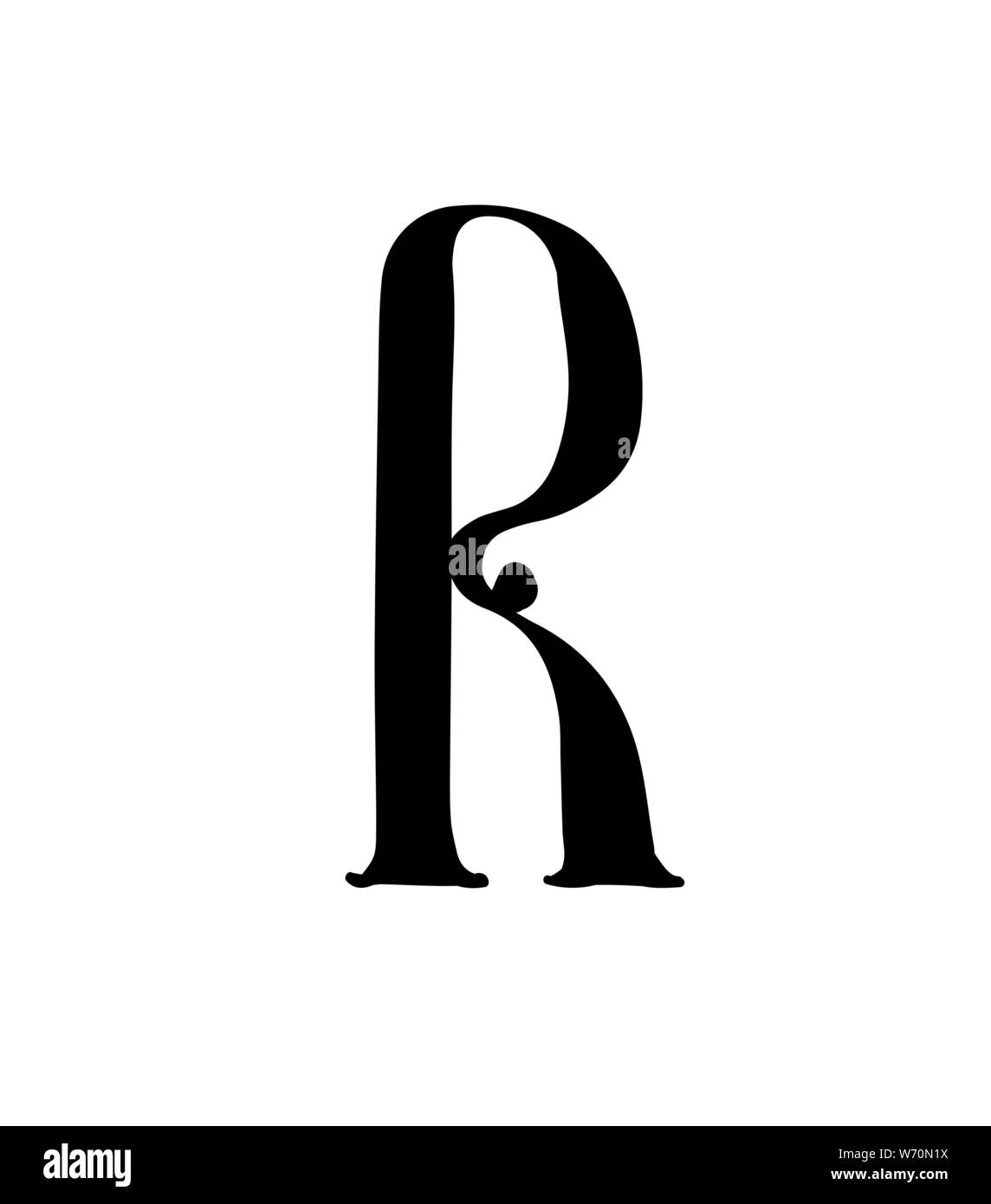 Latin letter R. Vector. Logo for the company. Icon for the site. Separate letter from the alphabet. Gothic neo-Russian ancient style of 17-19 centurie Stock Vector
