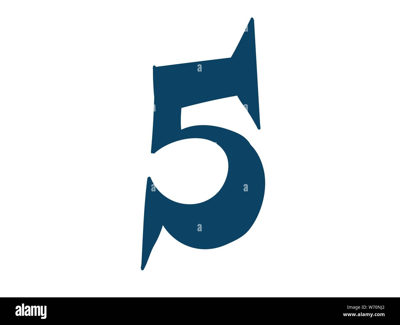 Digit number 5. Vector. Logo for the company. Icon for the site. Separate digit from the alphabet. Barbed pleasant shape. Stock Vector