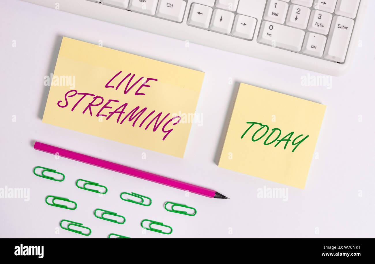 Writing Note Showing Live Streaming Business Concept For Transmit Live Video Coverage Of An Event Over The Internet Flat Lay Above Blank Copy Space S Stock Photo Alamy