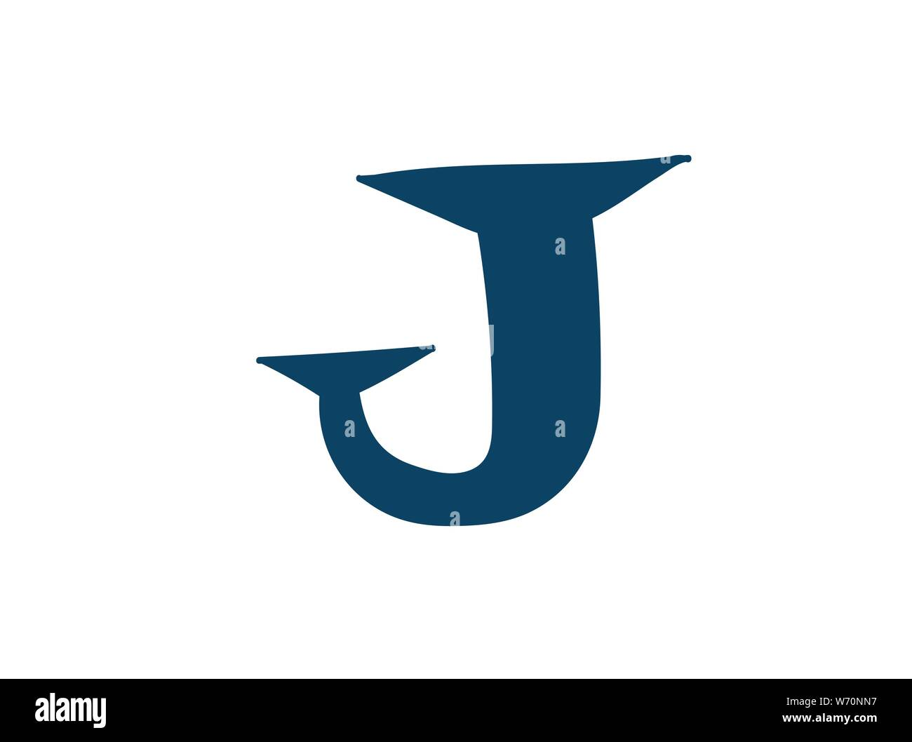 Latin letter J. Vector. Logo for the company. Icon for the site. Separate letter from the alphabet. Barbed pleasant shape. Stock Vector