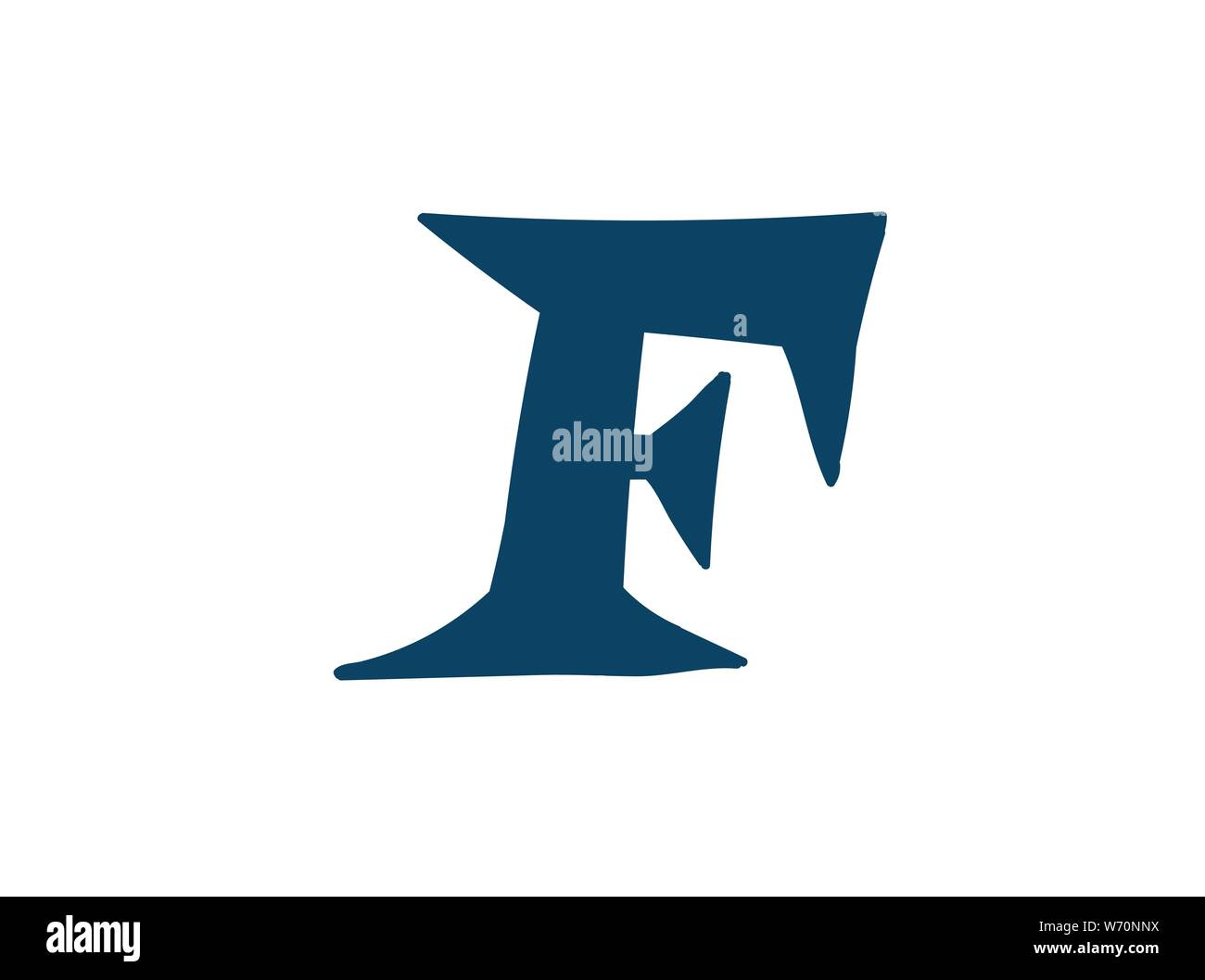 Latin letter F. Vector. Logo for the company. Icon for the site. Separate letter from the alphabet. Barbed pleasant shape. Stock Vector