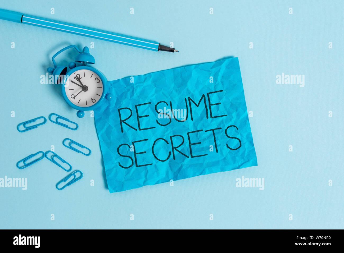 Word Writing Text Resume Secrets Business Photo Showcasing