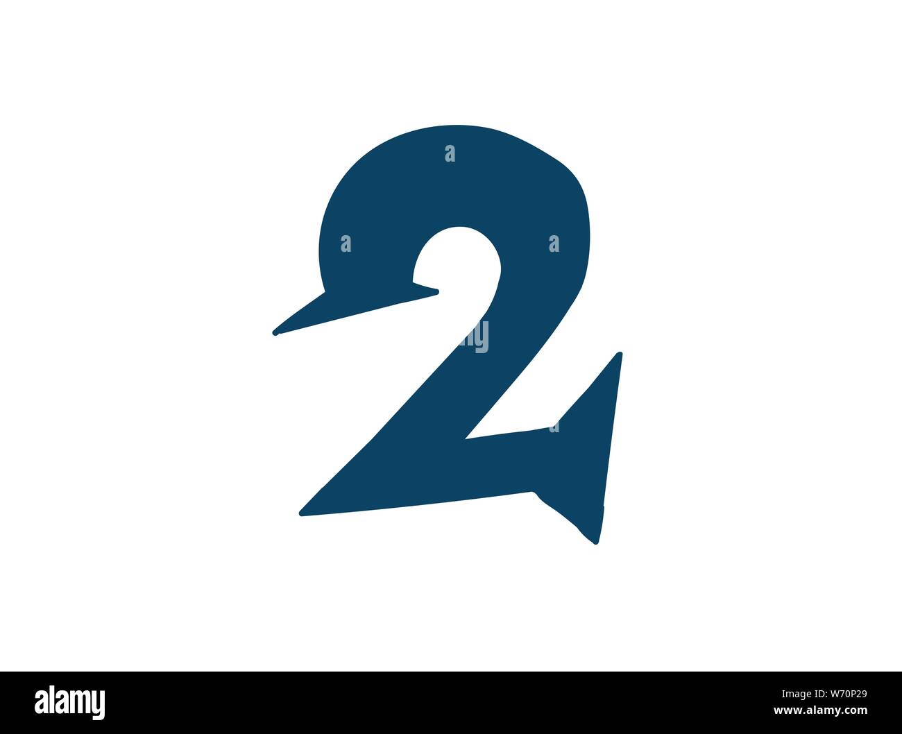 Digit number 2. Vector. Logo for the company. Icon for the site. Separate digit from the alphabet. Barbed pleasant shape. Stock Vector