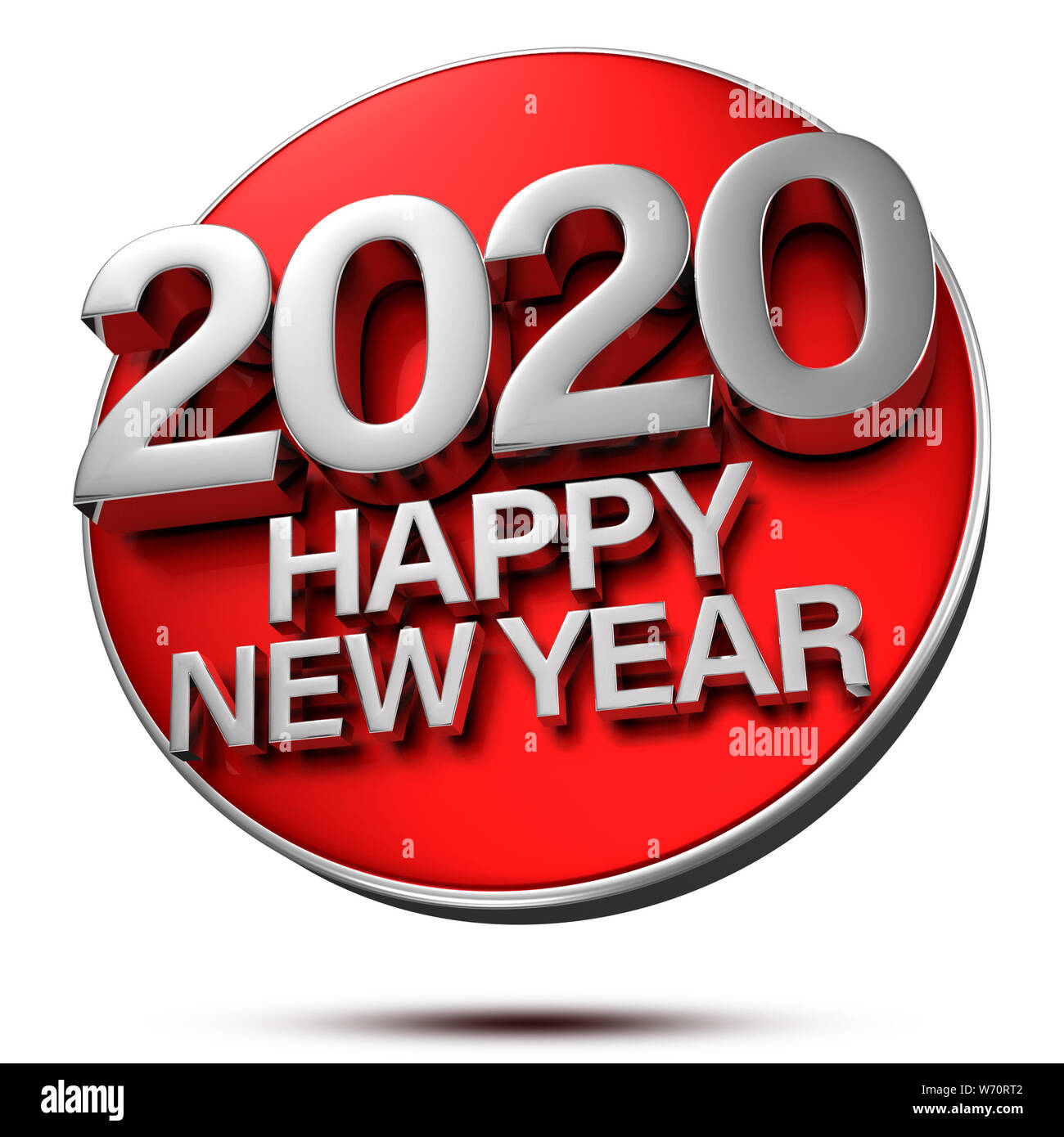 Happy New Year 2020 Images.Happy New Year 2020 3d Rendering Is Placed On A Red Circle