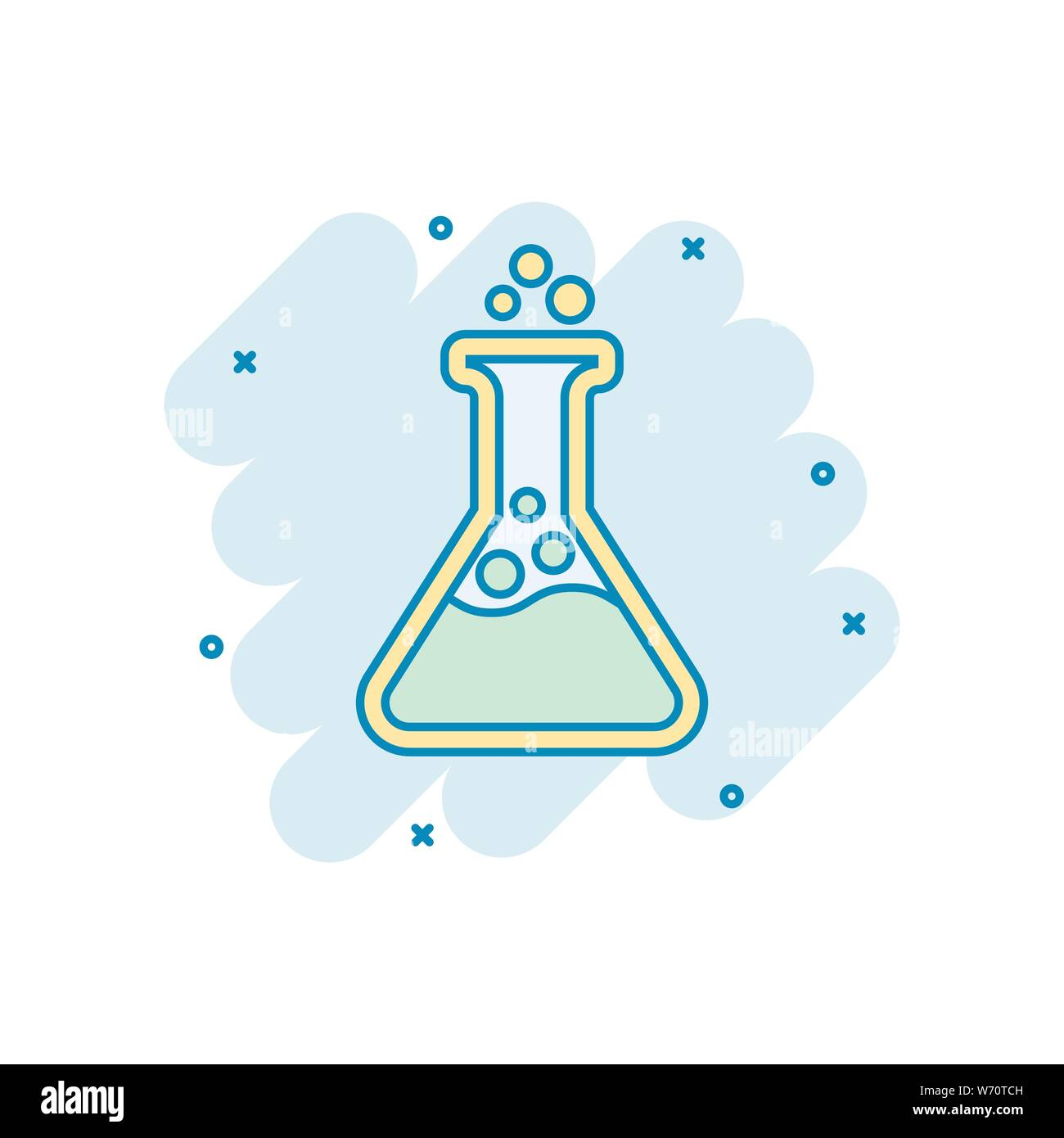 Chemistry beakers sign icon in comic style. Flask test tube vector cartoon illustration on white isolated background. Alchemy business concept splash Stock Vector