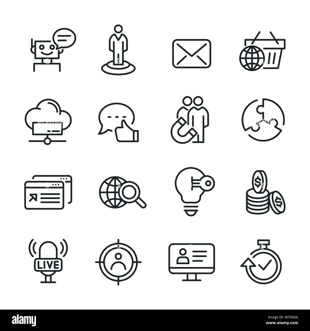 Vector icons set of seo and marketing. Stock Vector