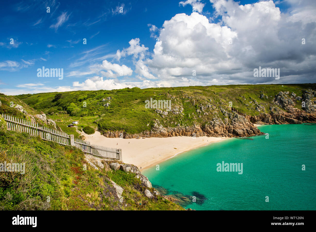 UK, England, Cornwall, Porthcurno, elevated view of beach from Minack Theatre Stock Photo