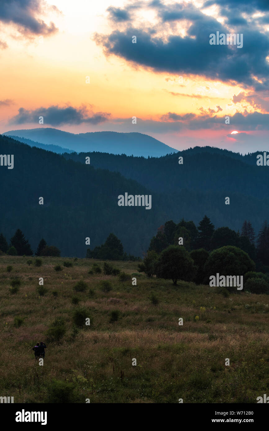 Beautiful Dramatic Sunset In The Mountains Landscape With