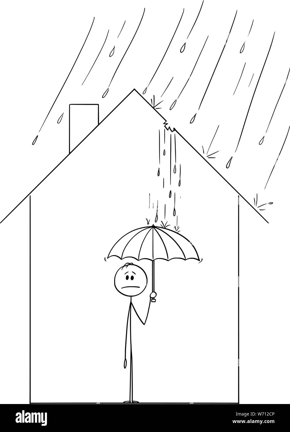 Vector Cartoon Stick Figure Drawing Conceptual Illustration Of Frustrated Man Holding Umbrella Inside His Family House Because Rain Is Coming Through The Hole In Roof Stock Vector Image Art Alamy