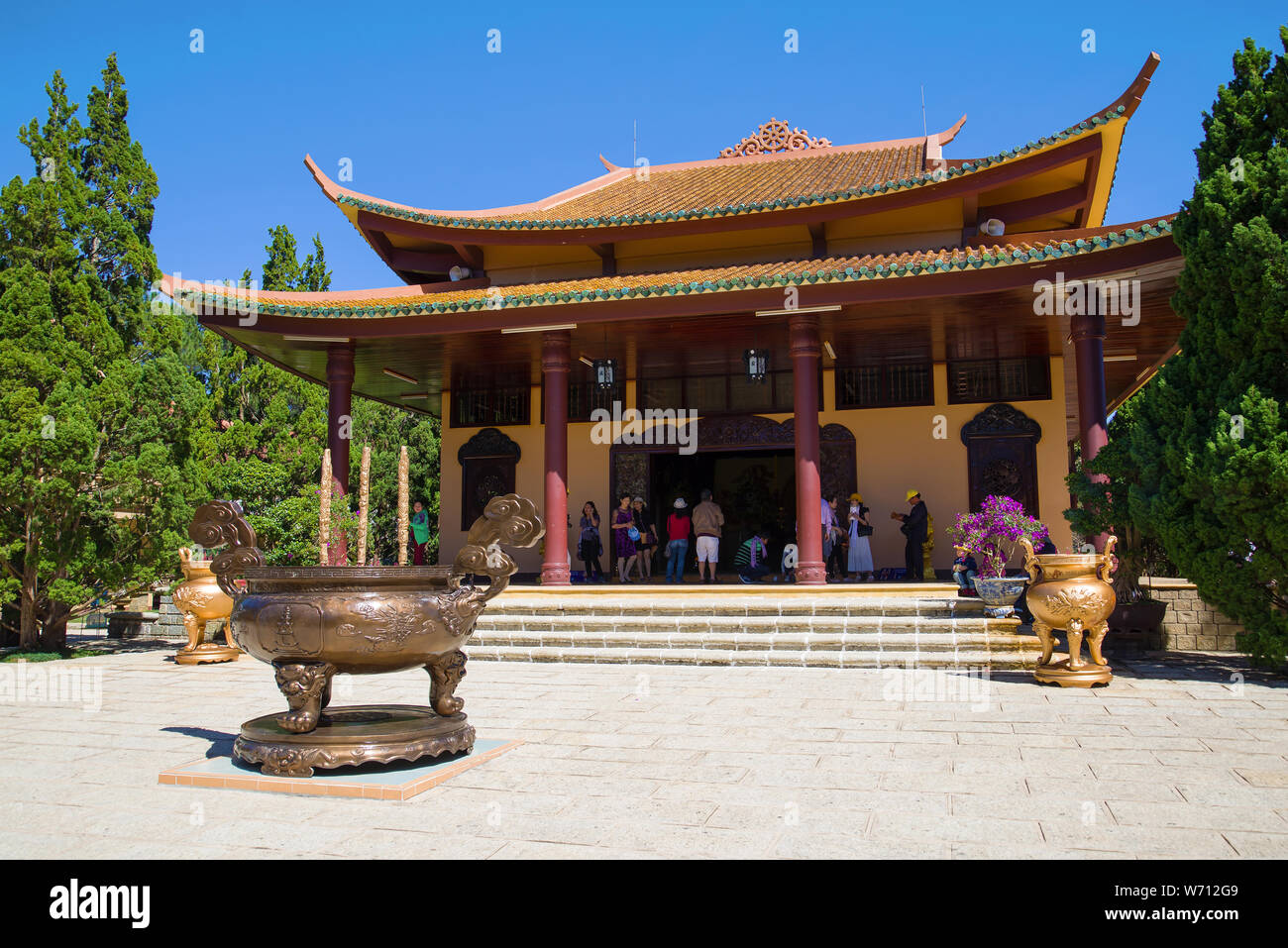 YES LAT, VIETNAM - DECEMBER 28, 2015: At one of the Buddhist temples of the Thien Vien Truc Lam monastery Stock Photo